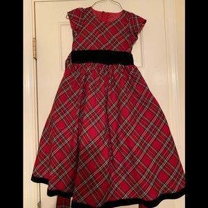 Other - Perfect plaid holiday dress with black velvet bow!